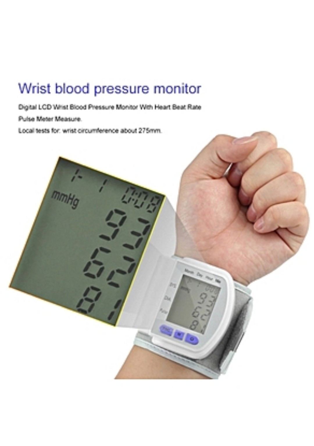 Wrist band blood pressure monitor