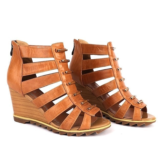 Brown Wedge Leather Shoe