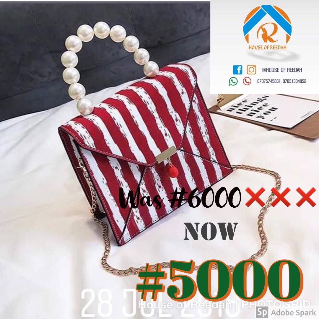 Stripe pearl bag