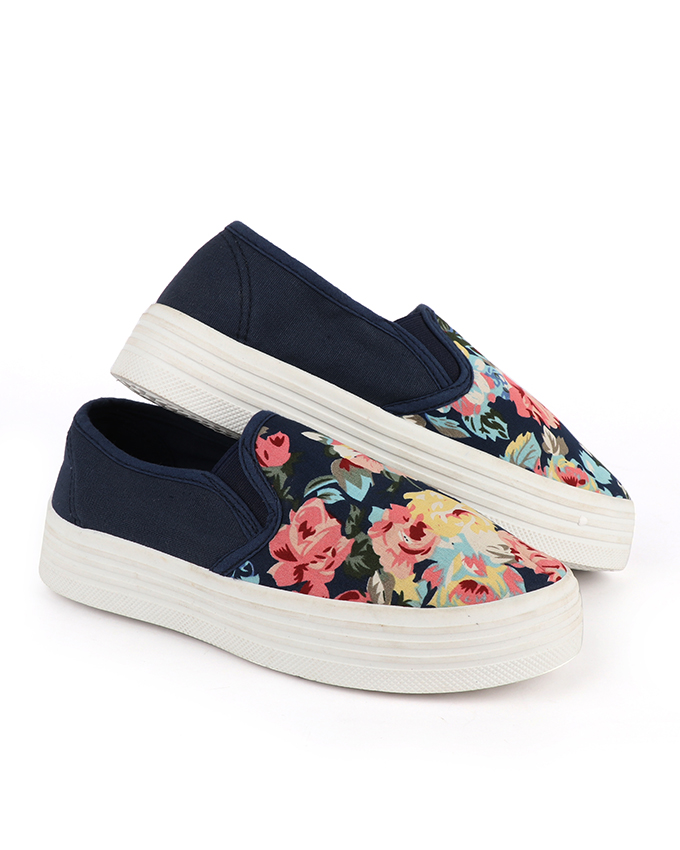 Flowered Top High Sneakers