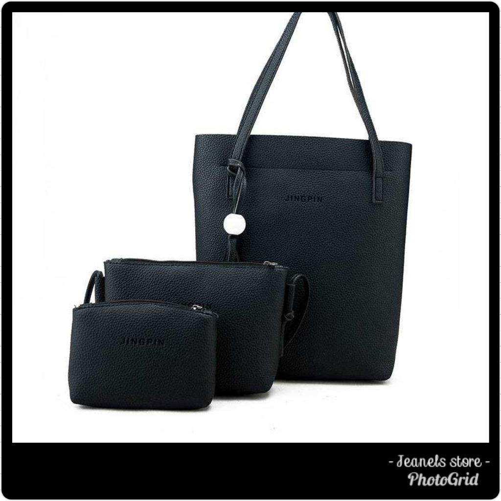 Black 3 in 1 Pu leather bag