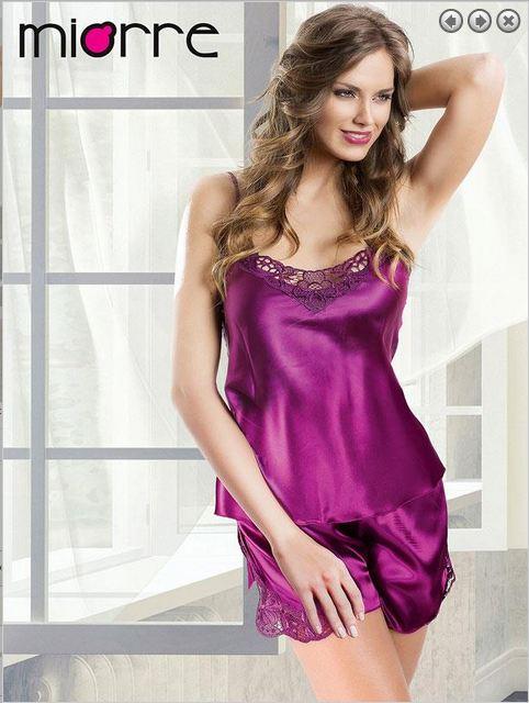 Purple Lace Satin Lingerie Set