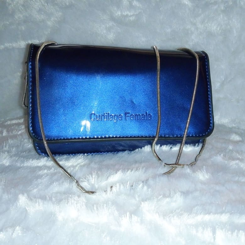 Blue hand-chained purse