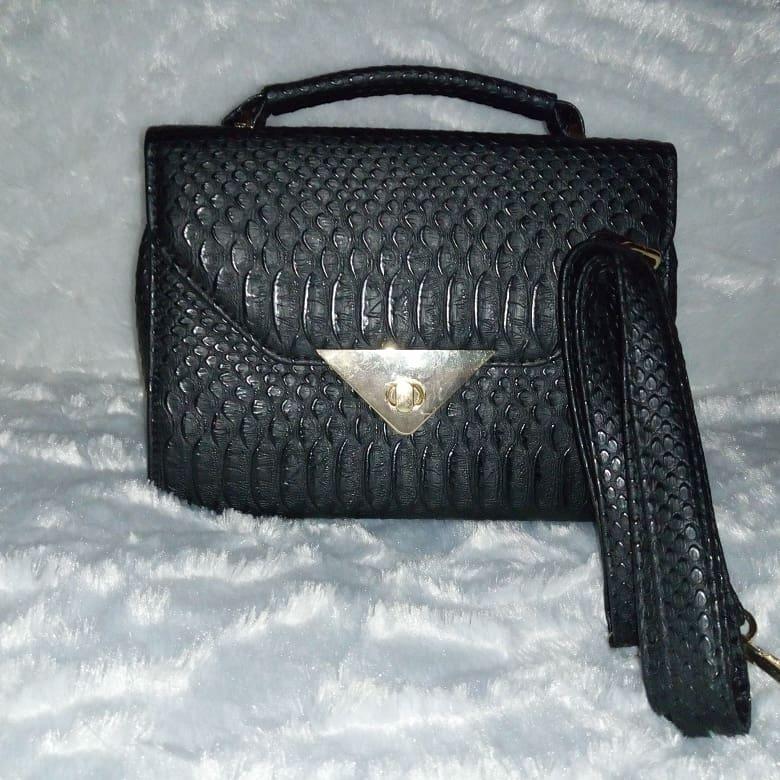 Leather mini black bag