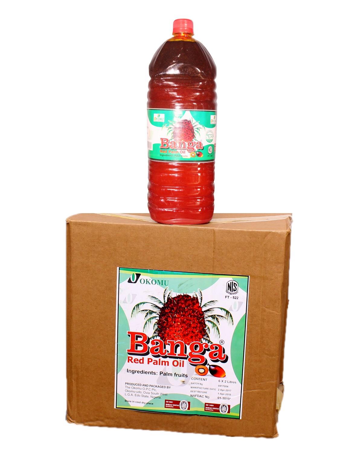 OKOMU BANGA RED PALM OIL 2 LITRES CARTON